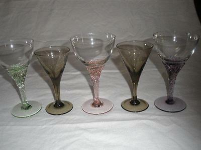 Stunning Bohemian Crystal & Etched Glasses Colored X 5 Czechoslovakia