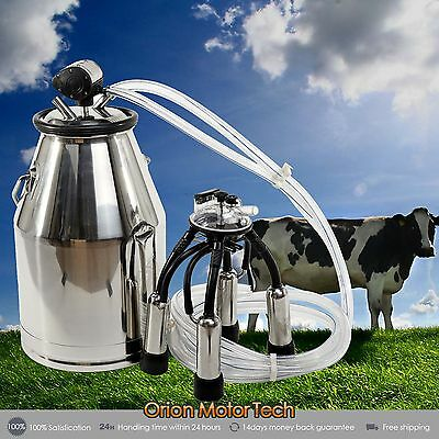 Portable Cow Milker 304 Stainless Steel  Milking Bucket Tank Barrel