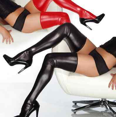 Sexy Wetlook Stockings Latex Rubber Metallic Long Tights + G String Panties Hot