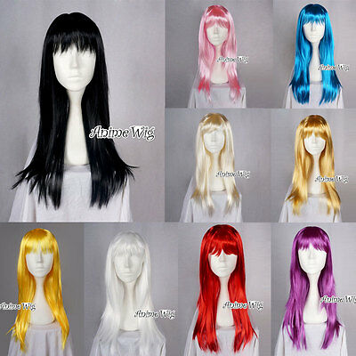 60cm Halloween Straight Party Wig Ladies Anime Cosplay Hair Fancy Dress Wigs