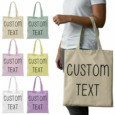 Personalised Cotton Bridesmaid Hen Do Wedding Any Name Text Word Custom Tote Bag