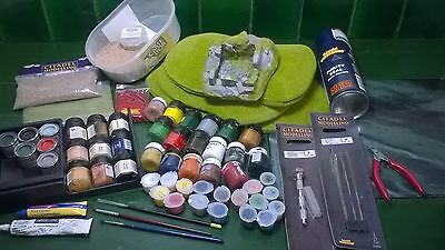 Games Workshop Citadel Scenery/Paints Joblot. Hills,Pin vice,files,gravel..RF8.
