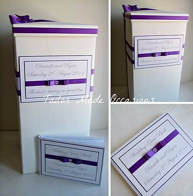 Beautiful Personalised Wedding Card Post Box AND Guest Book. Various Colours!