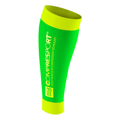 Compressport Calf R2 Fluo (Race & Recovery) green/yellow. Neu!
