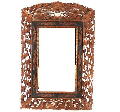 Fine Antique Chinese Hand Carved Sandalwood Frame Mirror Wood Qing Picture Art