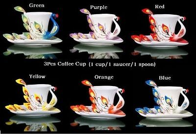 Coffee Cup Peacock Porcelain Birthday Gift Wedding Party Present Tea Time 3pcs