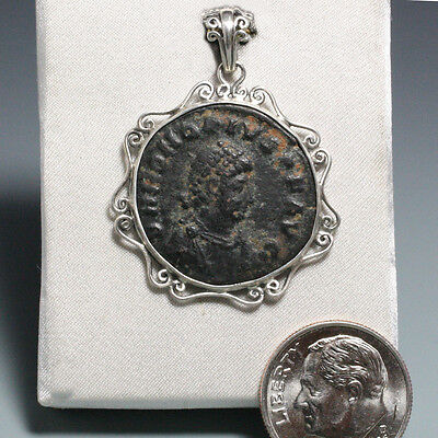 Ancient Roman Coin Handmade Pendant, Sterling Silver with Wire Ornate