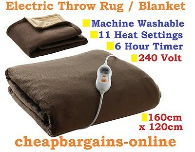 HEATED THROW RUG ELECTRIC HEATED BLANKET 240 volt PLUSH FLEECE SNUGGLE BLANKET