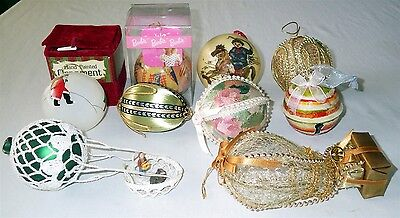 Vintage Lot of 9 Christmas Ornaments Barbie Glitter Painted Material Crocheted
