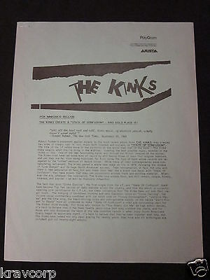 The Kinks 'State Of Confusion' 1983 Press Release