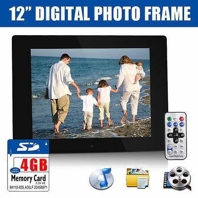 "12"" Black HD Digital Photo Frame USB MP3 AVI Audio Video Photograph +4GB SD Card"