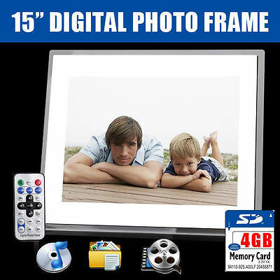 "New 15"" White HD Digital Photo Frame MP3 AVI MPEG Audio Video Photograph +4GB SD"