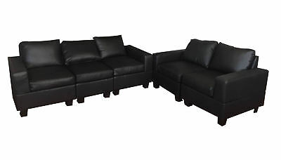 PU Leather Sofa Couch Lounge Corner Suite Furniture Chaise Set Black New