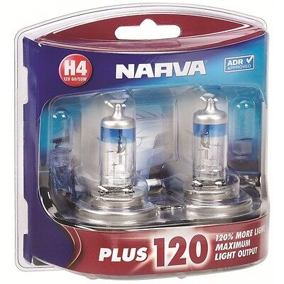 Narva H4 +120% Plus 120 Halogen Light Bulbs Headlamp Globes New 12V 48362Bl2