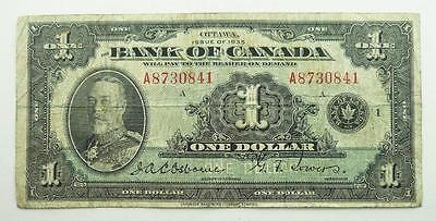 Canada 1935 One Dollar / $1.00 Banknote - King George V - VG to F Condition