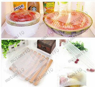 4x Silicone Wraps Seal Cover Stretch Cling Film Food Fresh Keep Kitchen Tools Mo
