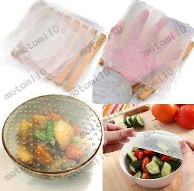 4x Silicone Food Wrap Seal Cover Stretch Cling Film Reusable Keep Fresh Mo