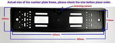Number Plate Holder Frame LED Night Vision Colour Reverse Parking Camera PAL