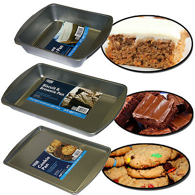 Non Stick Baking Tray Square Rectangle Biscuit Brownie Cake Bake Pan Cookie Base