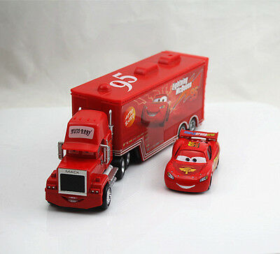 Disney Pixar Cars No.95 Mack Racer's Truck & Lightning McQueen 1:55 Toy Loose