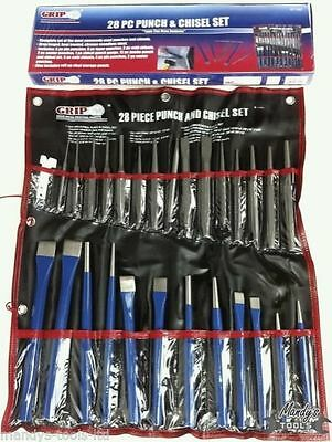 Punch & Chisels & Pin Punches 28PC Set in Roll Forged Heat Treated CV Steel GRIP