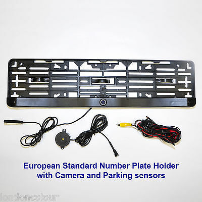 CISBO 2-In-1 Video Parking Sensor with EU Size Number Plate Frame Camera+Sensors