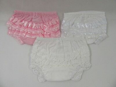 Baby Infant Clothes Girls White Frilly Elasticated Pants Knickers Satin Cotton