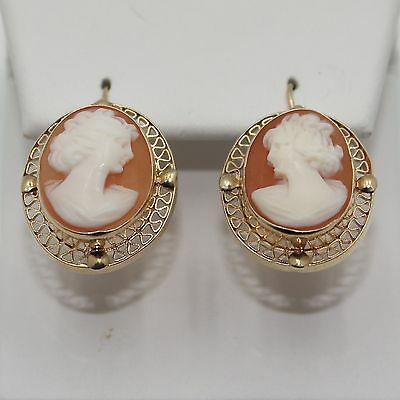Antique 14k Yellow Gold Hand Carved Filigree Cameo Earrings