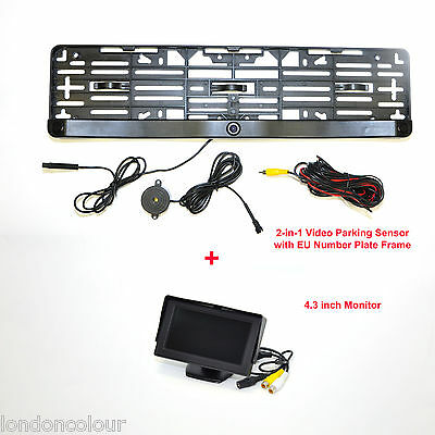 2 In 1 Video Camera Parking Sensor EU Size Number Plate Frame with 4.3'' Monitor