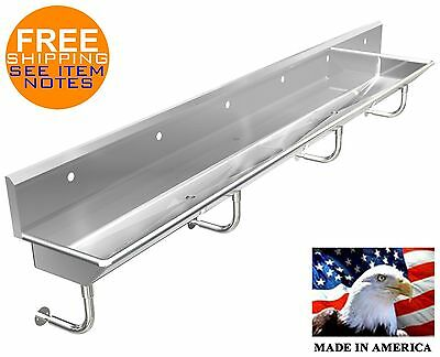 "Wash-Up Hand Sink 6 Users Multistation 144"" Stainless Stl. Body Only Made In Usa"