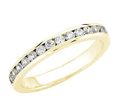 Diamond Wedding Band Ring 0.55 Ct Round Cut 14K Yellow Gold channel Anniversary
