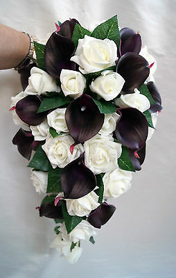 Wedding Teardrop bouquet eggplant/aubergine/plum  Real touch calla lillies
