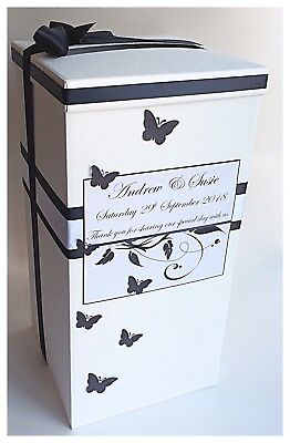 Butterfly Personalised Wedding Card Post Box AND Guest Book. Various Colours!