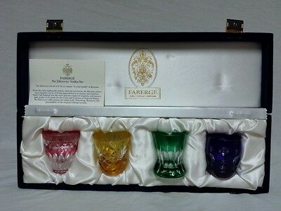 Faberge Na Zdorovye Vodka Set Shot Glasses Crystal Cut To Clear With Box Signed