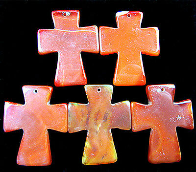 5PCS Beautiful unique dark red onyx agate carved cross pendant bead  V1672