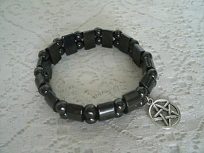 Hematite Pentacle Bracelet wiccan pagan wicca witch witchcraft goddess pentagram