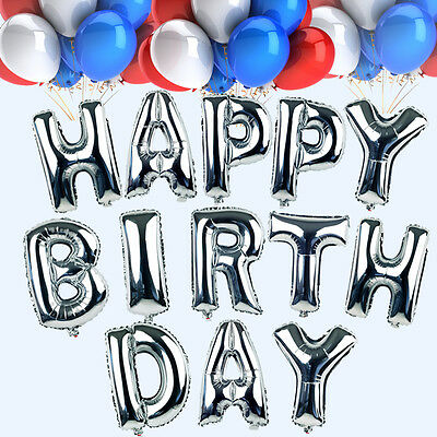 """16 Inch Silver """"HAPPY BIRTHDAY"""" Letters 13 Pcs Foil Balloons Party Decoration"""