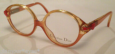 VTG DIOR Eye Glasses 2409 Optical Frame Junior Beige Pink Peach Round Brille