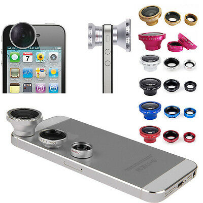 Universal 3 in1 Fish Eye Wide 180° Macro Lens Camera Magnetic Kit for Cellphone