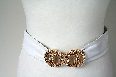 XXS St Michael / M&S White Leather Vintage Belt - 1980s