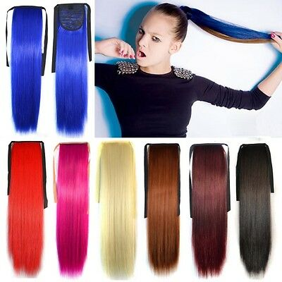 Fashion Womens Long Straight Cosplay Ponytails Clip-in Hair Extension Hair Band