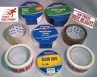 Parcel Packing Tape Clear Brown Fragile Duct *HIGH QUALITY*