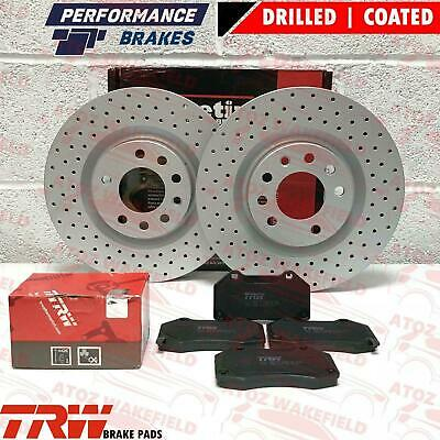 FOR VAUXHALL CORSA E 1.6 VXR FRONT DRILLED 330mm BRAKE DISCS TRW PADS 2015- OPC