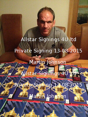 Martin Johnson Signed England 2003 Rugby World Cup Final Programme Photo Proof