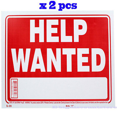 """2 Pcs """" Help Wanted """" 9"""" x 12"""" Red & White Flexible Plastic  Sign Bazic"""
