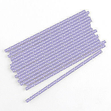 75 Lavender with White Polka Dot Biodegradable Paper Straws Party Supplies