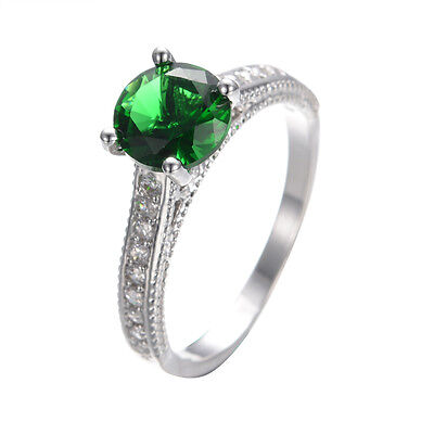 Emerald Ring 5.4ct Green Crystal Women's 14Kt White Gold Filled Wedding SzM-T1/2