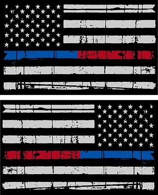 """Tattered Police & Fire Thin Blue/Red Line American Flag Decals x 2 - 3"""" x 1.75"""""""