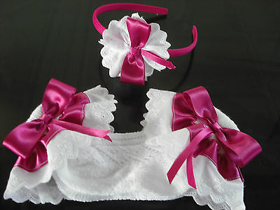 Girls Romany Frilly Socks In Pink With Matching Hair Bands Sizes 6-8 1/2