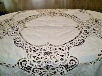 Antique-White-Hand-made-Linen-Filet-Cotton- Cutting Embroidered
